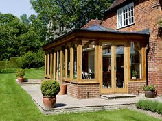 . Orangery Extension Kitchen, Porch Extension, Brick Extension, Cottage Extension, Extension Ideas, Oak Framed Extensions, Gazebo On Deck, Garden Room Extensions, Small Barns