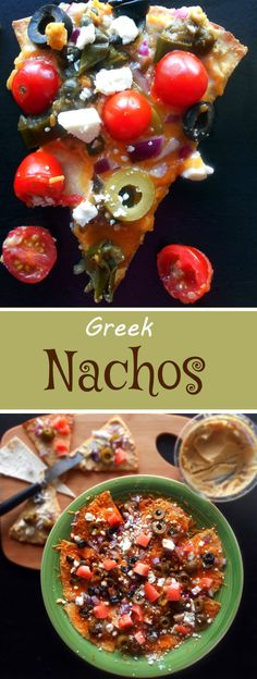 Greek Nachos Recipe made with Hummus, olives, tomatoes, feta and cheddar cheese.  Mediterranean Diet Recipe