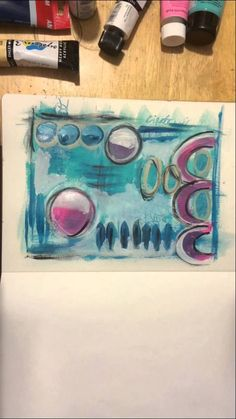 Art journal, mixed media page art - speed painting-sorry no sound !!