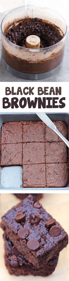 Flourless Black Bean Brownies - Rich, FUDGY better-than-boxed brownies, one of t. - Flourless Black Bean Brownies – Rich, FUDGY better-than-boxed brownies, one of the most popular recipes I've EVER made! Vegan Sweets, Healthy Baking, Vegan Desserts, Healthy Desserts, Just Desserts, Delicious Desserts, Dessert Recipes, Healthy Brownies, Paleo Bars