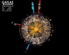 Zeigt dieses Ereignis den Zerfall eines Higgs-Bosons in vier Elektronen? (Quelle: ATLAS)  http://www.pro-physik.de/details/physiknews/2113671/Ein_neues_Teilchen.html
