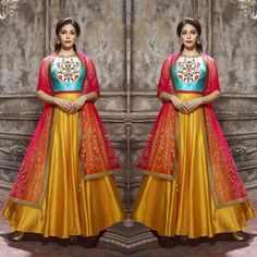 Checkout this sky blue and dark yellow heavy banglori silk gown  Available for only 3800 INR  To buy WhatsApp @ +91 9054562754