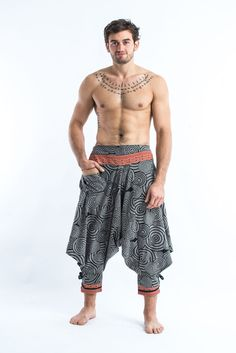 Swirls Prints Thai Hill Tribe Fabric Men Harem Pants with Ankle Straps in Gray
