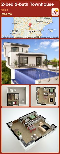 2-bed 2-bath Townhouse in Spain ►€238,200 #PropertyForSaleInSpain