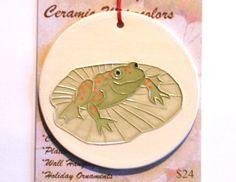 FROG & LILY PAD handmade ceramic ornament by FaithAnnOriginals, $24.00
