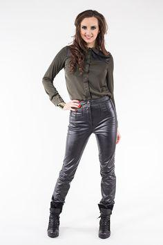 Koszula khaki ze skórzaną wstawką ABK0009 www.fajne-sukienki.pl Bra Sizes, Leather Pants, Underwear, Lingerie, Beautiful, Products, Fashion, Gera, Artificial Leather