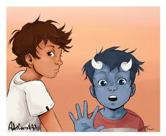 Max and Rafe ... Drawn by AdriCarrollart ... shadowhunters, the mortal instruments, max lightwood bane, blueberry, rafael lightwood bane, little one
