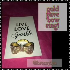 Gold pave bow ring!! Gold pave bow ring! Stunning when the light hits this beauty! Adjustable to it fits a variety of sizes and can be worn anywhere!! I have 3 of these, listed separately :) T&J Designs Jewelry Rings