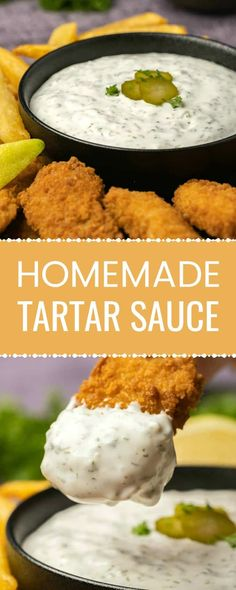 This homemade tartar sauce is packed with flavor and so much tastier than anything you can buy off the shelf. It's ready in 5 minutes and divine as a dip! Side Dish Recipes, Fish Recipes, Seafood Recipes, Appetizer Recipes, Great Recipes, Cooking Recipes, Favorite Recipes, Appetizers, Homemade Tartar Sauce