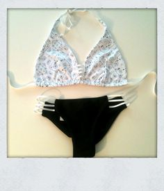 'AXL' Top in White Bandana Print + 'AXL' Bottom in Midnight Black with White Side Straps is a part of our Exclusive Collection available for purchase ONLY in-store at Royalty Ride Shop in Canyon Lake, CA or for Special Order by eMailing order@crispybikinis.com ❤