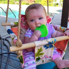 This baby loves her swing! Thank you Courtney for your purchase and for this cute pic! Baby Co, Baby Swings, Indoor Outdoor, Love Her, Trending Outfits, Handmade Gifts, Floral, Cute, Pink