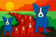 """rodrigue blue dog prints  """"Blue Dogs on the Red River"""""""