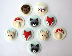 Items similar to Woodlands animals cake topper set. Fondant Mushrooms on Etsy Fondant Cupcakes, Fondant Toppers, Cupcake Cookies, Fondant Molds, Woodland Cake, Woodland Party, Fondant Figures, Chocolates, Animal Cupcakes