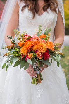 Purple Wedding Flowers bright orange bouquet - Filled to the brim with fab navy and orange details that accent the season perfectly, this Casual and Elegant Fall Wedding will have you wishing for more! Bright Wedding Flowers, Wedding Table Flowers, Fall Wedding Colors, Wedding Flower Arrangements, Wedding Decorations, Wedding Ideas, Trendy Wedding, Orange Wedding Centerpieces, Wedding Favors
