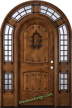 Knotty Alder Exterior Entry Wood Round Top Door POMPANO