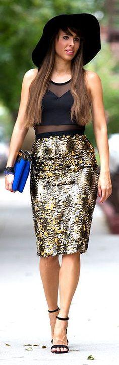 Festy In Style Black Crop Top Golden Sequin Pencil Skirt