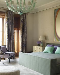 lavender and teal, incredible upholstered bed