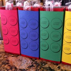 Lego brick juice boxes. Used the printable found pinned on my Lego Party board.