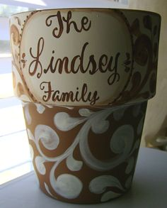 Hand painted personalized clay flower pot container by BellaLouart, $24.99