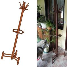 Coat stand with umbrella holder plan Wooden Curtain Rods, Diy Rack, Umbrella Holder, Wooden Candle Holders, Workshop Organization, Coat Stands, Wood Turning Projects, Wooden Diy, Furniture Plans