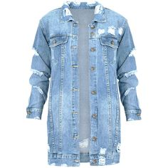 Long Denim Jacket 2.0 ($53) ❤ liked on Polyvore featuring outerwear, jackets, blue denim jacket, blue jean jacket, denim jacket, long jean jacket and blue jackets
