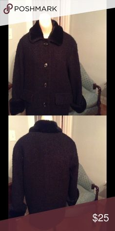 Vintage black coat w faux fur. Fur at the neck line and sleeves. Vintage coat . Charter Club Jackets & Coats
