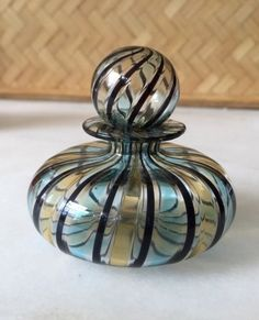 Handblown Glass Swirl Blue Yellow Murano Perfume Bottle