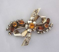 Hobe Jewelry Vintage HOBE Sterling Silver Floral Oval Pin Brooch with Ruby Red Rhinestones 1940s Fashion