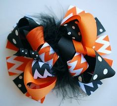 Classic Halloween Chevron Loopy Hair Bow; seasonal and holiday children/baby clothes