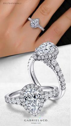 14K White Gold Pear Shape Halo Diamond Engagement Ring ER12764P4W44JJ#GabrielNY #UniqueJewelry #WhiteGoldEngagementRings #PearShapedEngagementRing #HaloEngagementRings