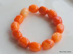 Orange Quartz Stretch Bracelet by MerryHeartJewel on Etsy