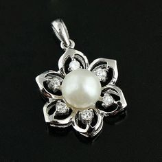 New Arrival Hexagram Sterling Silver CZ And Pearl Pendants