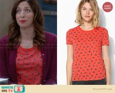 Gina's red eye printed tee on Brooklyn Nine-Nine. Outfit Details: http://wornontv.net/28934 #Brooklyn99 #fashion