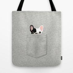 Pocket French Bulldog - Pied Tote Bag