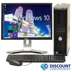 """FAST Dell Windows 10 Desktop Computer Core 2 Duo 4GB Ram DVD WiFi 17"""" Dell LCD…"""