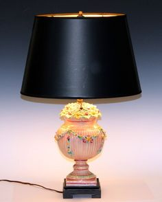 Antique Della Robbia Naples Italian Majolica Pottery Urn Lamp | From a unique collection of antique and modern table lamps at https://www.1stdibs.com/furniture/lighting/table-lamps/