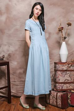 Linen Long Dress in Blue/ Pleated Sundress /Linen Kaftan/ Plus Size Custom, Cocktail Dress A8001