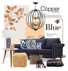 """Copper & Blue..."" by gloriettequartet ❤ liked on Polyvore featuring interior, interiors, interior design, home, home decor, interior decorating, Brian Yates, Arteriors, Pippa and Trina Turk LA"