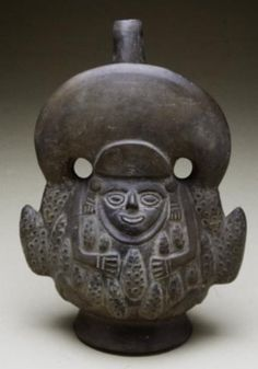 Vessel, 11th-15th century Chimú | With roots in earlier Andean cultures, the Chimu practiced a polytheistic religion with the Moon God as the supreme deity. This vessel may depict the Corn God. Corn was a prevalent crop with sacred associations. It was fermented to make chicha, a frothy beverage consumed at ceremonial occasions and celebrations. Chicha and maize flour were also common offerings to departed relatives and to the gods.