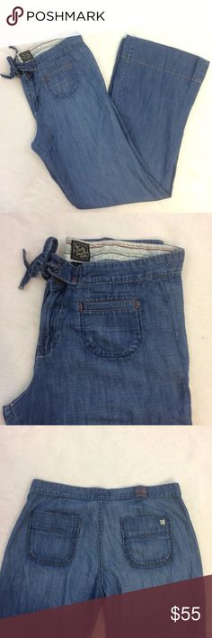 """[Lucky Brand Jeans] Wide Boho Festival Leg Jeans -Size 10 or 30 -Adorable and on trend! Possibly vintage? -Wide leg bell bottoms for the perfect event jean -Light to medium wash -100% Cotton and a thinner lightweight style  Measurements: Waist 17"""" Rise 9.5"""" Inseam 31"""" Length 40""""  We are always open to reasonable offers on all of the items in our closet! Lucky Brand Jeans Flare & Wide Leg"""