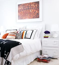 Get the look : Pagoda Nightstand - Worlds Away   asian inspired boho chic modern bedroom of black + white + pops of warm tones