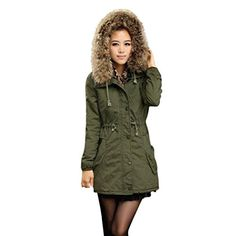 FarJing Clearance Women Coats Winter Warm Long Coat Fur Collar Hooded Jacket Slim Parka Outwear Coats(L,Army Green Best Winter Coats for Women USA Best Winter Coats, Winter Coats Women, Coats For Women, Jackets For Women, Mens Full Tracksuit, White Tracksuit, Style Vert, Green Parka Coat, Long Quilted Coat