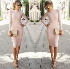 Sexy Women Retro Long Sleeve Bodycon Pencil Dress - O Yours Fashion - 1 Casual Dresses For Women, Sexy Dresses, Cute Dresses, Trendy Dresses, Look Fashion, Fashion Outfits, Womens Fashion, Girl Fashion, Fashion Spring