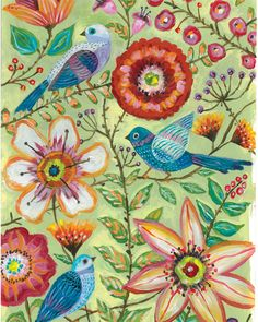 McKenzie's Garden Floral Birds art by Lori Siebert by LoriSiebertStudio on Etsy