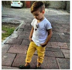 Totally cute for a little boy, even the haircut!
