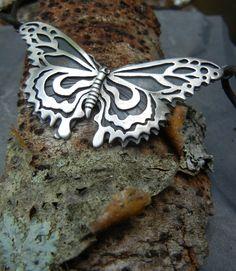 Sterling Butterfly Necklace by Teresa de la Guardia  www.etsy.com/listing/195920000/sterling-metalwork-butterfly