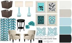 The Yellow Cape Cod: A Custom Room Design Inspired: Turquoise and gray.