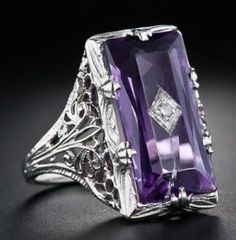 Women's Fashion 925 Sterling Silver Rings For Jewelry Elegant Wedding Engagement Purple Amethyst ring Size 5-11