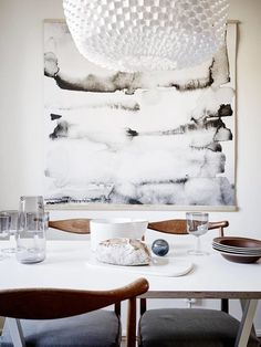 Oversized art ideas for your dreamy home: Minimal mood - Pair an abstract and neutral artwork with minimal furniture and you will have a great Scandinavian interior that you will love.