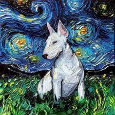 dog paintings Bull Terrier Art Starry Night Art Print dog lover gift cute art by Aja and Perros Bull Terrier, Chien Bull Terrier, Wheaten Terrier, Bull Terriers Anglais, English Bull Terriers, Bullterrier Tattoo, Starry Night Art, Art Mignon, Dog Poster